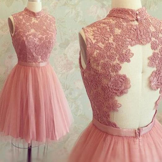 2016 Rose Pink Tulle High Neck Cocktail Dress With Lace Appliques Bodice