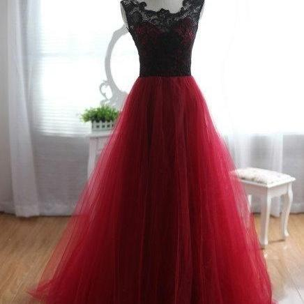 2016 Tulle and Lace Burgundy Prom Dresses 2016, Burgundy Prom Dresses, Lace Prom Gown, Formal Dresses