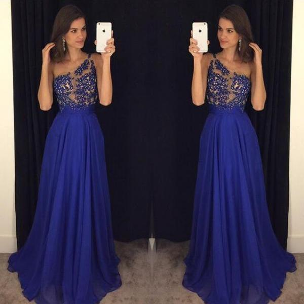 2016 Royal Blue Celebrity Dresses Prom Gowns Lace and Beads Bodice